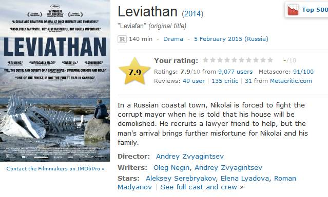 Критика на х/ф Левиафан